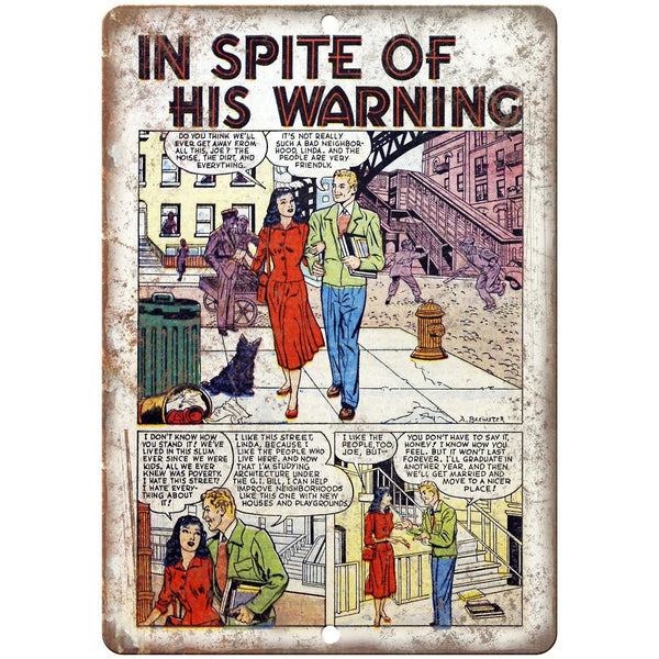 "Ace Comics In Spite of His Warning Strip 10"" X 7"" Reproduction Metal Sign J416"
