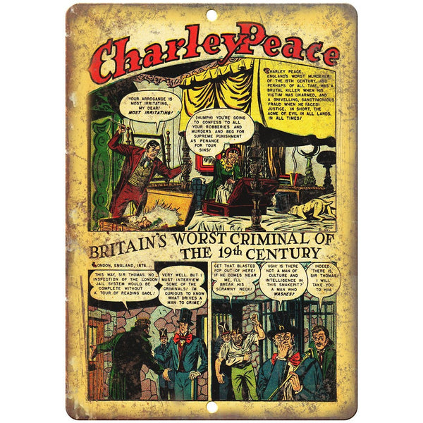 "Charley Peace British Crime Comic Strip 10"" X 7"" Reproduction Metal Sign J331"