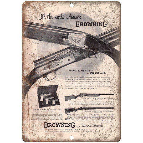 "Browning Firearms Automatic Shotgun Vintage Ad 10"" x 7"" Reproduction Metal Sign"