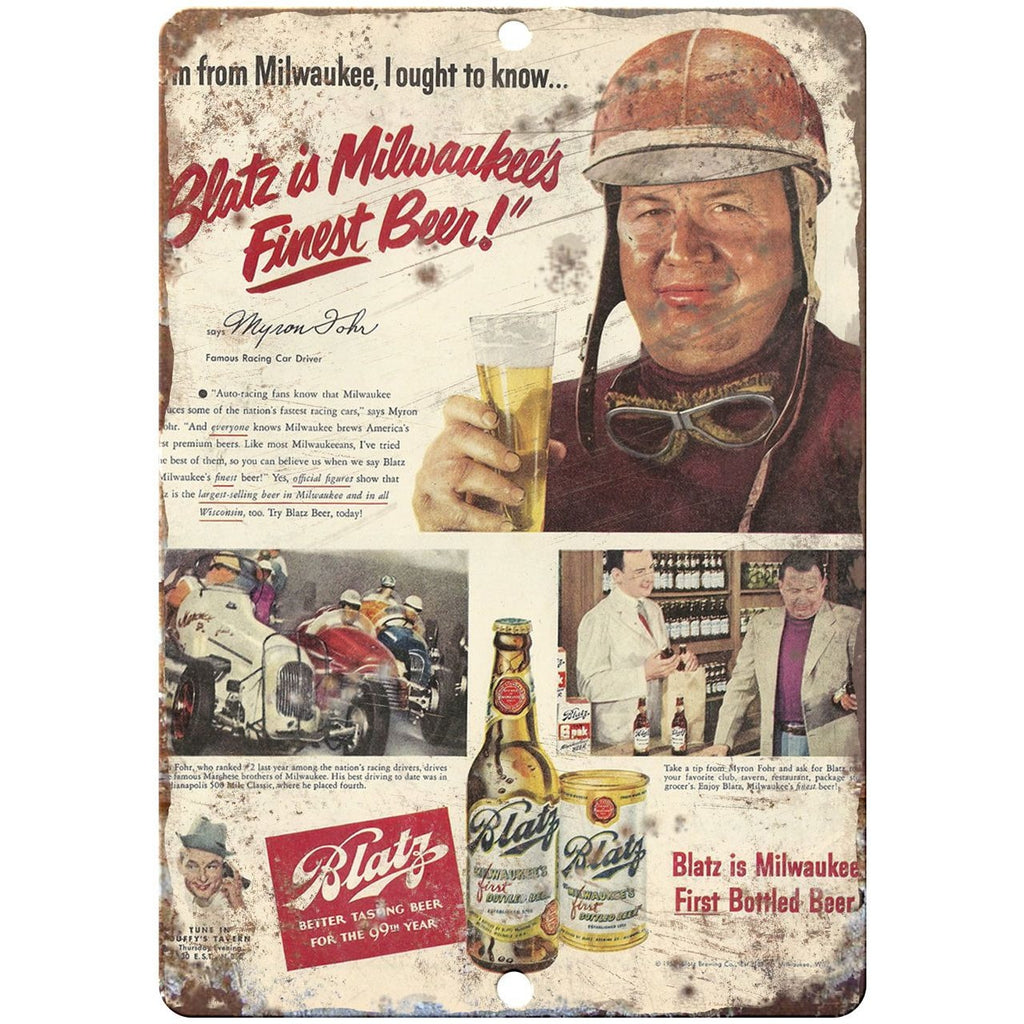 "1950 Blatz Beer vintage advertising 10"" x 7"" reproduction metal sign"