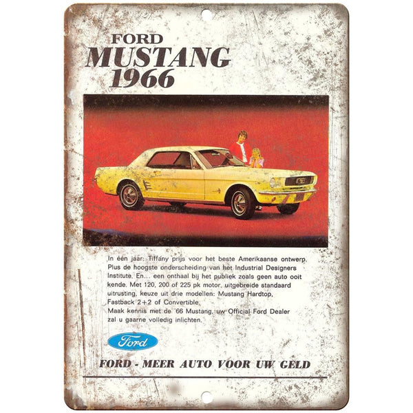 "1966 - Ford Mustang Vintage Print Ad - 10"" x 7"" Retro Look Metal Sign"