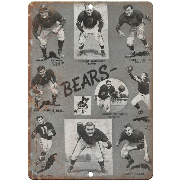 "Bears Football 10"" x 7"" Vintage Look Reproduction Metal Sign"