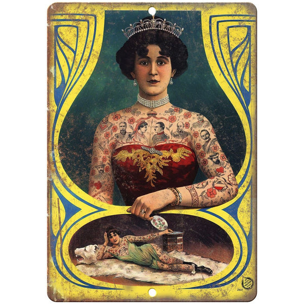 "Vintage Circus Freak Show Tattoo Girl 10"" X 7"" Reproduction Metal Sign ZH107"