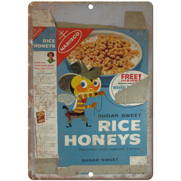 "Rice Honeys Vintage Cereal Box Art 10"" X 7"" Reproduction Metal Sign N386"
