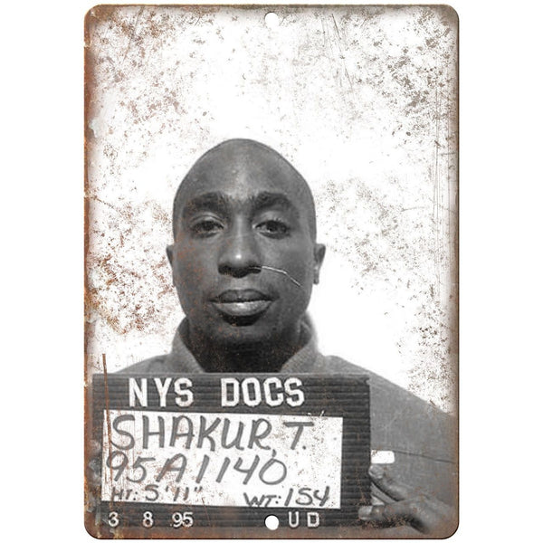 "1995 Tupac Shakur NYS Department of Corrections 10"" x 7"" reproduction metal sign"