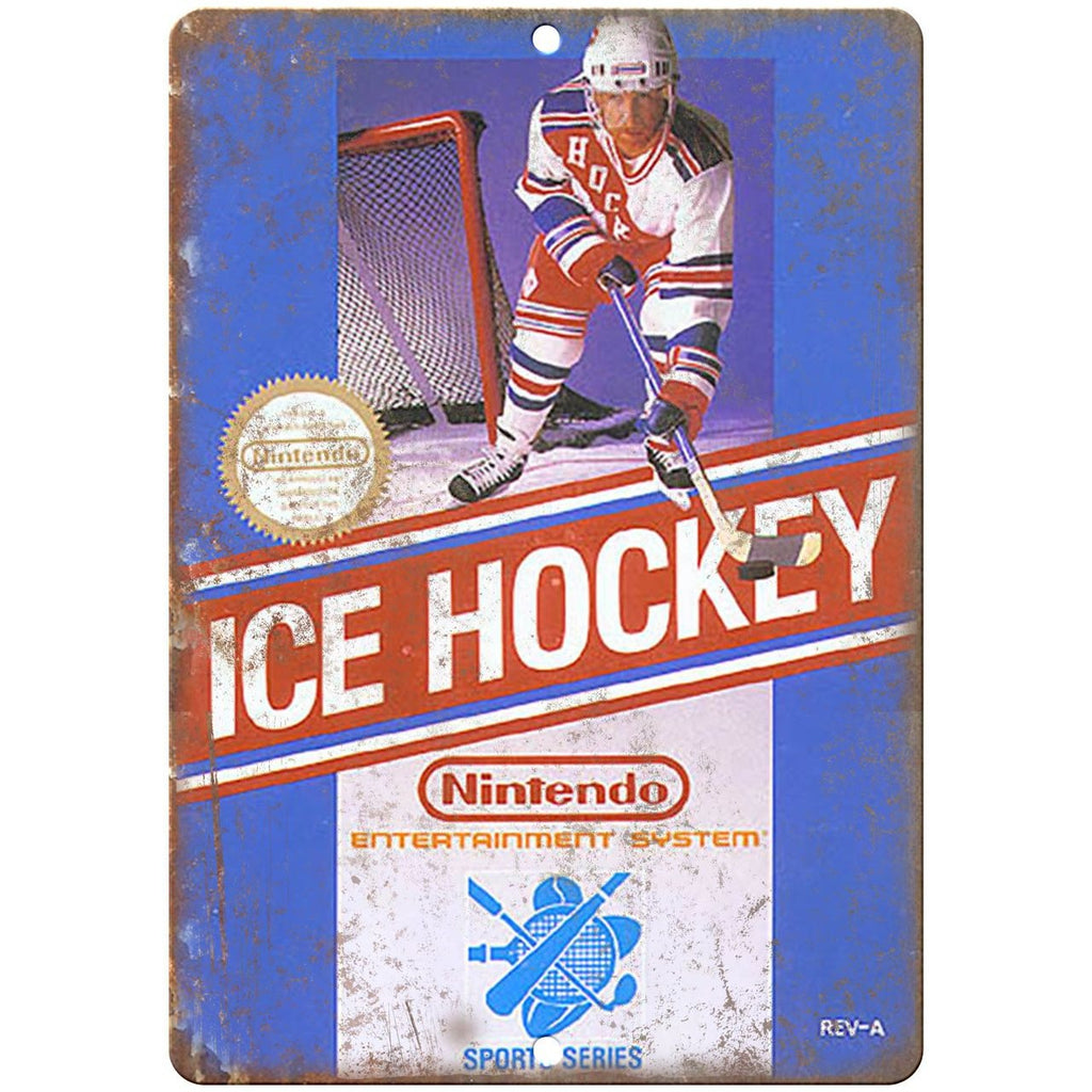 "Nintendo Ice Hockey Game Cartrige Cover Art - 10"" x 7"" Reproduction Metal Sign"