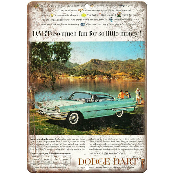 "1960 Dodge Dart Vintage Ad 10"" x 7"" Reproduction Metal Sign"
