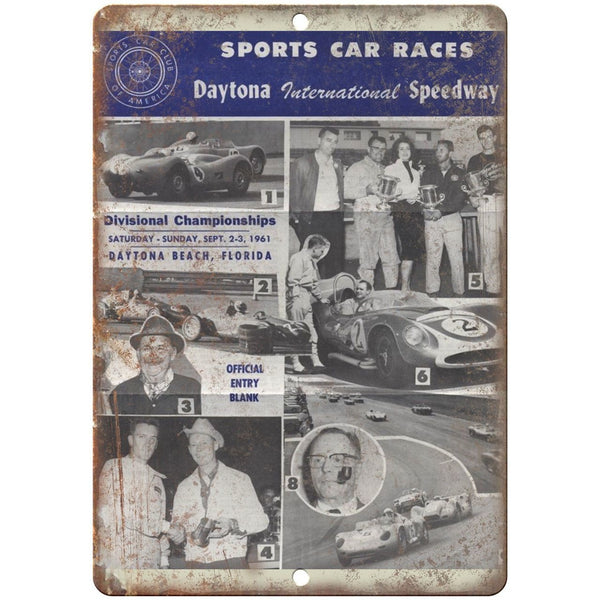 "1961 Daytona Speedway Sports Car Races 10"" X 7"" Reproduction Metal Sign A488"