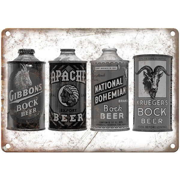 "National Bohemian Bock Beer Vintage Ad 10"" x 7"" Retro Look Metal Sign"