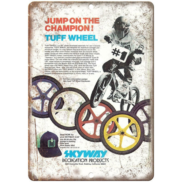 "1979 Skyway Wheels BMX Racing Freestyle 10"" x 7"" retro metal sign"