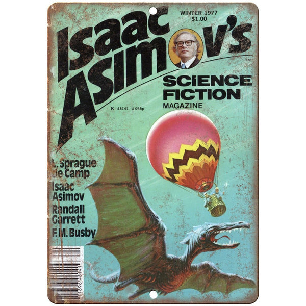 "1977 - Isaac Asimov's Science Fiction Magazine 10"" x 7"" reproduction metal sign"