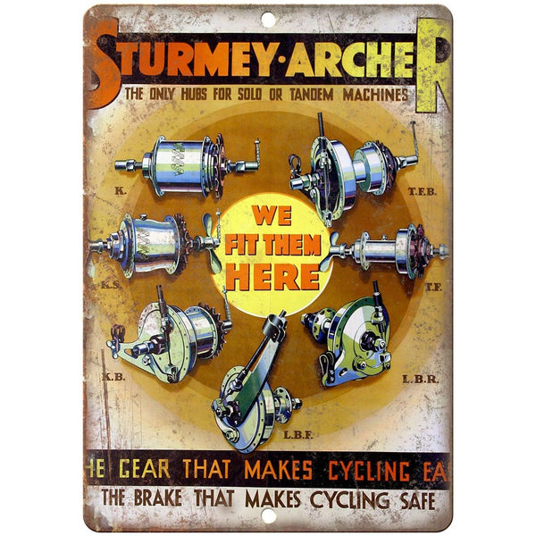 "Sturmey Archer Cycling vintage advertising 10"" x 7"" reproduction metal sign"