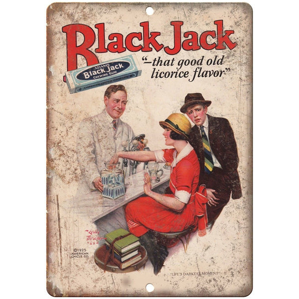 "1925 Black Jack Chewing Gum Licorice Flavor 10"" X 7"" Reproduction Metal Sign N73"