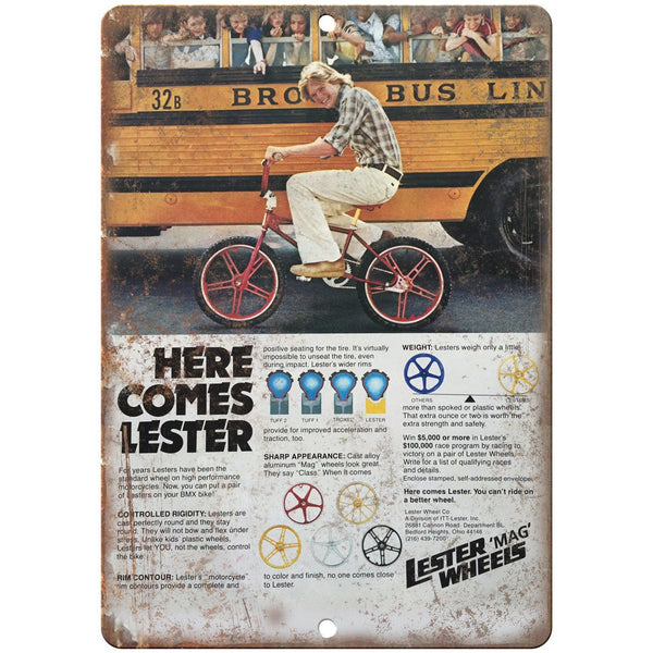 "Lester MAG Wheels Vintage BMX Racing Ad 10"" x 7"" Reproduction Metal Sign B480"