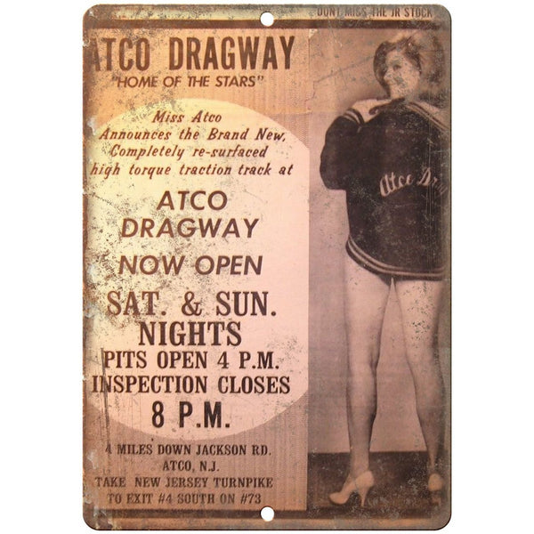 "Atco Dragway, stock car races, funny car, midget car 10"" x 7"" Retro Metal Sign"