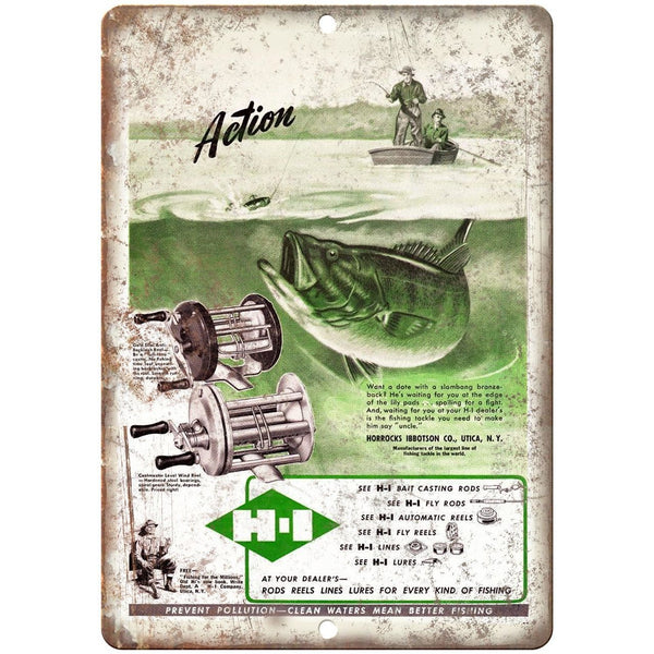 "H-I Fishing Reel Horrocks Ibbotson Co. Ad - 10'"" x 7"" Reproduction Metal Sign"