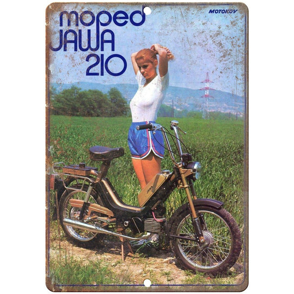 "Jawa Moped 210 Vintage Ad 10"" x 7"" Reproduction Metal Sign A349"