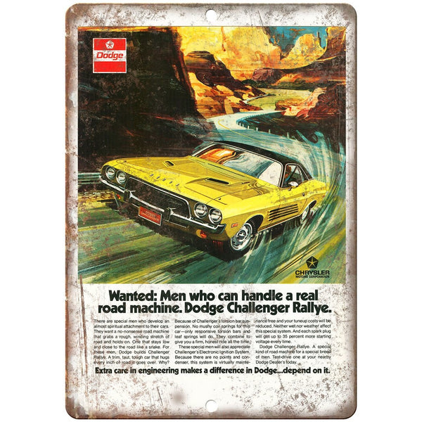 "1973 Dodge Challenger Rallye Sports Car 10"" x 7"" Reproduction Metal Sign"