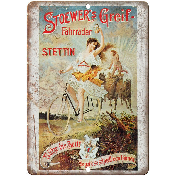 "Stoewer's Greig Bicycle Vintage Ad 10"" x 7"" Reproduction Metal Sign B346"