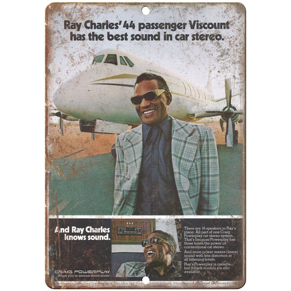 "Craig Powerplay Car Stereo Ray Charles 10"" x 7"" Reproduction Metal Sign D13"