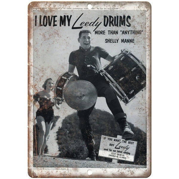 "Leedy Drums Shelly Manne Vintage Ad 10"" X 7"" Reproduction Metal Sign R02"