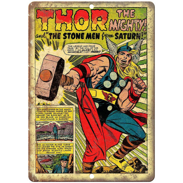 "Thor The Mighty Vintage Comic Strip 10"" X 7"" Reproduction Metal Sign J448"