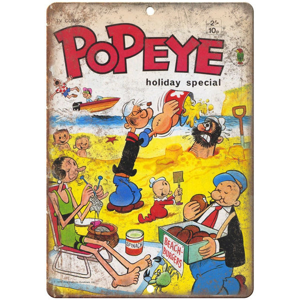"Popeye TV Comics Vintage Cover Art 10"" X 7"" Reproduction Metal Sign J259"