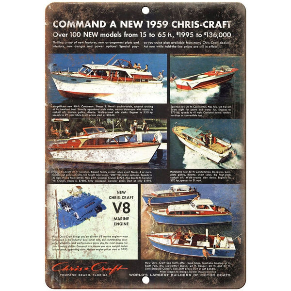 "Chris-Craft vintage V8 boat 10"" x 7"" reproduction metal sign"