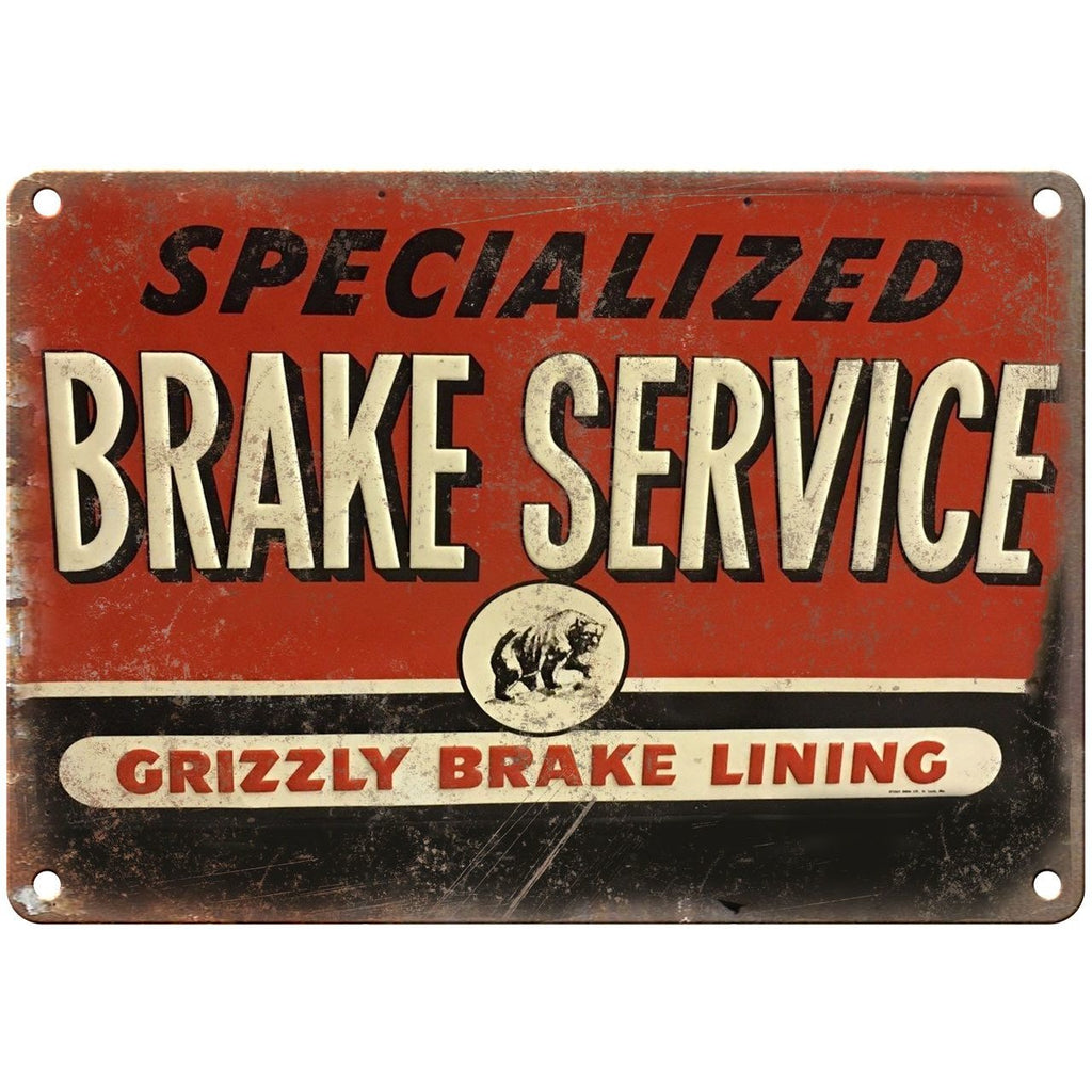 "Porcelain Look Specialized Brake Service Grizzly 10"" x 7"" Retro Look Metal Sign"