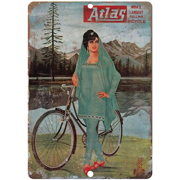 "Atlas bicycle vintage advertising 10"" x 7"" reproduction metal sign"