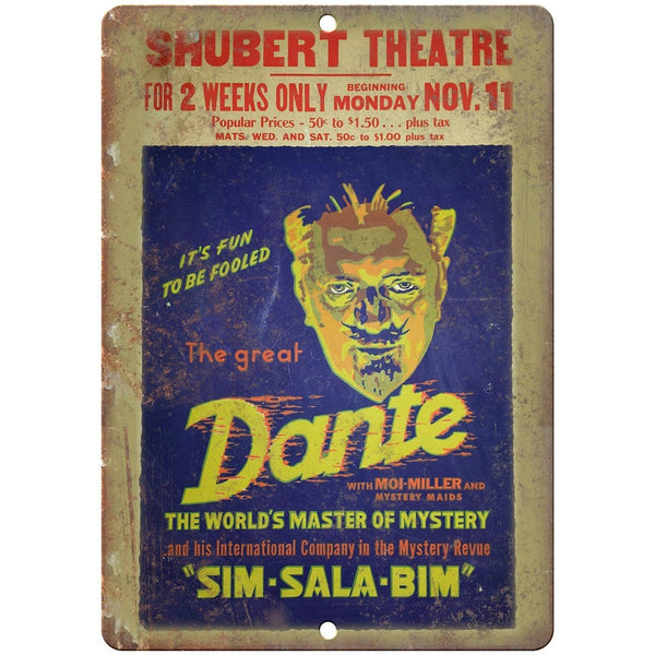 "Shubert Theatre The Great Dante 10"" X 7"" Reproduction Metal Sign ZH185"