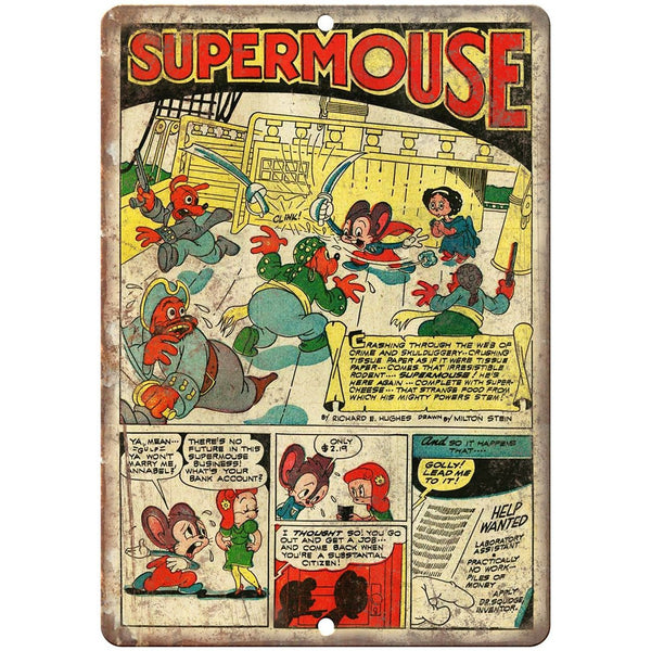 "Supermouse Vintge Comic Strip Ad 10"" X 7"" Reproduction Metal Sign J289"