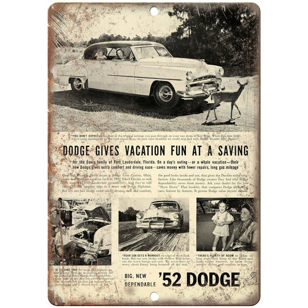 "1952 Dodge Vintage Car Ad 10"" x 7"" Reproduction Metal Sign A269"