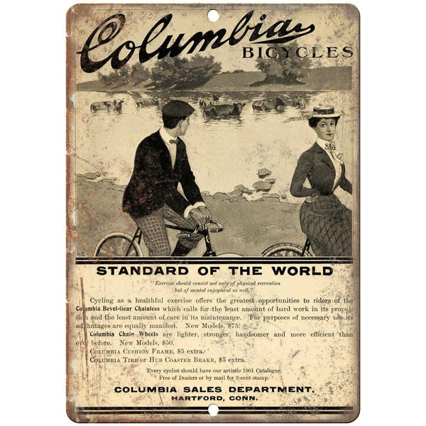 "Columbia Bicycles Vintage Ad 10"" x 7"" Reproduction Metal Sign B373"