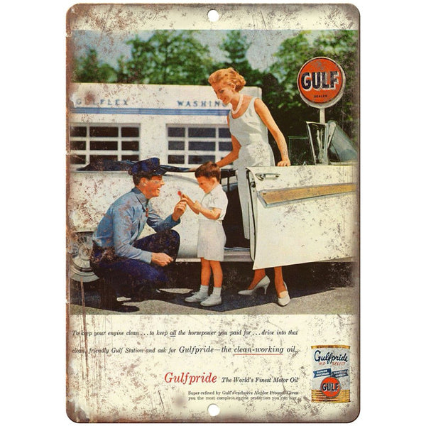 "Gulfpride Gulf Motor Oil HD Select Ad 10"" x 7"" Reproduction Metal Sign A16"