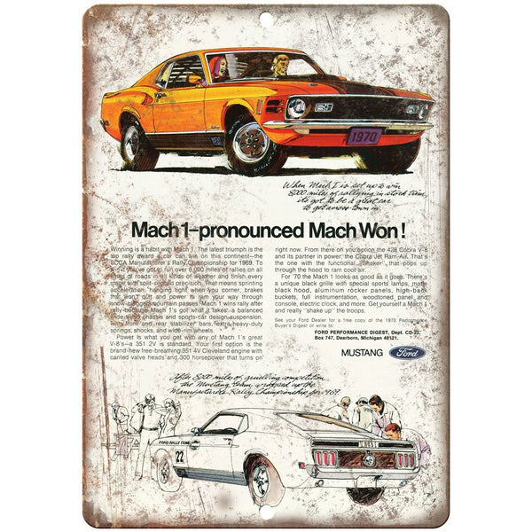 "1970 - Ford Mach1 Dearborn Michigan - 10"" x 7"" Retro Look Metal Sign"