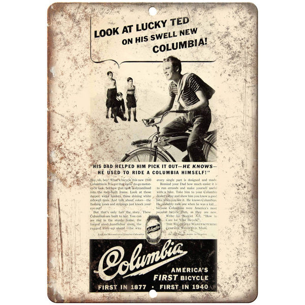 "Columbia Bicycle Vintage Art Ad 10"" x 7"" Reproduction Metal Sign B456"