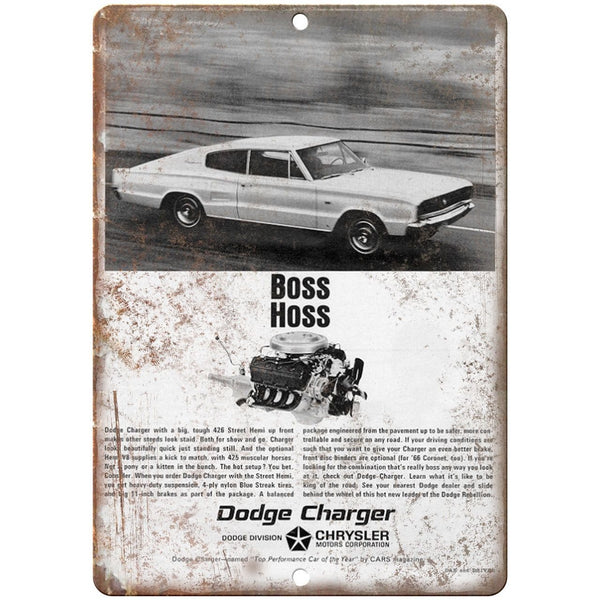 "10"" x 7"" Metal Sign - 1966 Dodge Charger - Vintage Look Reproduction"
