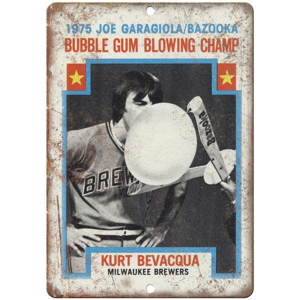 "1975 Garagiola Bazooka Gum Bubble Champ Ad 10"" X 7"" Reproduction Metal Sign N76"