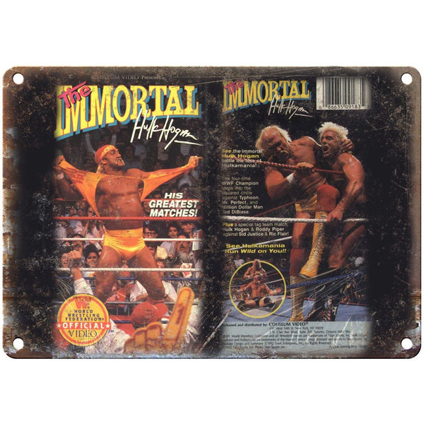 "The Immortal Hulk Hogan WWF VHS Cover RARE 10"" x 7"" Reproduction Metal Sign"
