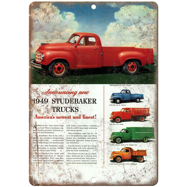 "1949 Studebaker Truck Vintage Car Ad 10"" x 7"" Reproduction Metal Sign A451"