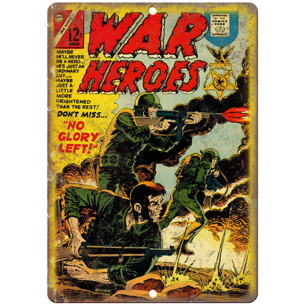 "War Heroes Comic Book March Cover Art 10"" x 7"" Reproduction Metal Sign J718"