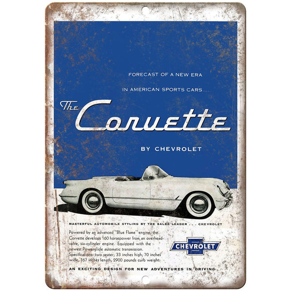 "1954 Corvette Chevrolet RARE ad 10"" x 7"" Reproduction Metal Sign"