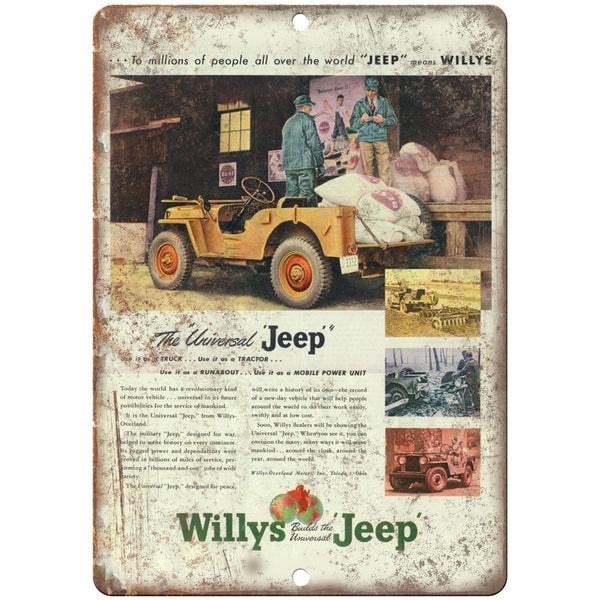 "Jeep Willys Overland Universal 4x4 - 10"" x 7"" Reproduction Metal Sign"