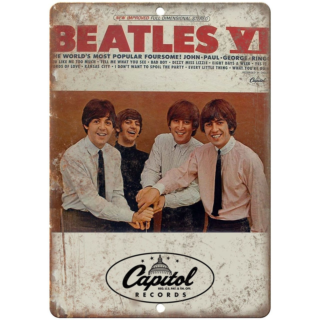 "The Beatles VI Album Cover Capitol Records 10"" x 7"" Reproduction Metal Sign K24"