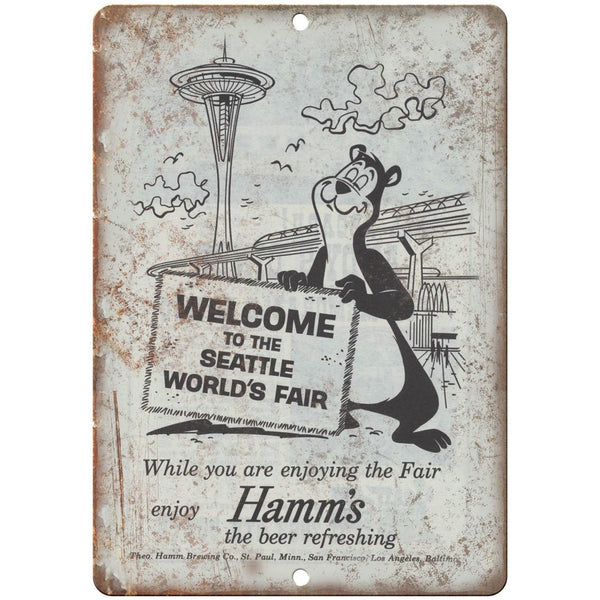"10"" x 7"" Metal Sign- Hamm's Beer Seattle Worlds Fair - Vintage Look Reproduction"