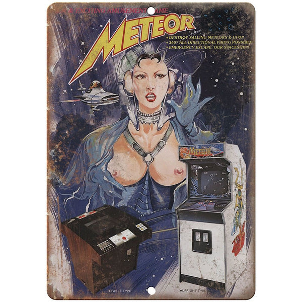 "Meteor Arcade Game 10"" x 7"" reproduction metal sign"