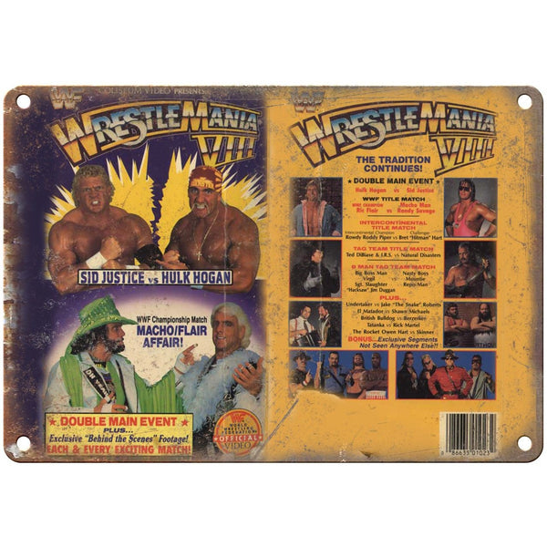 "WWF WrestleMania VIII Hulk Hogan VHS Cover Art 10"" x 7"" Reproduction Metal Sign"