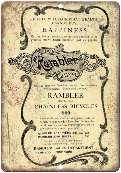 "1901 Rambler Bicycles Vintage Ad 10"" x 7"" Reproduction Metal Sign B374"