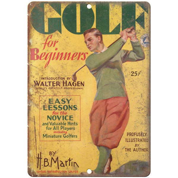 "Golf for Beginners H.B. Martin vintage advertising 10"" x 7"" retro metal sign"